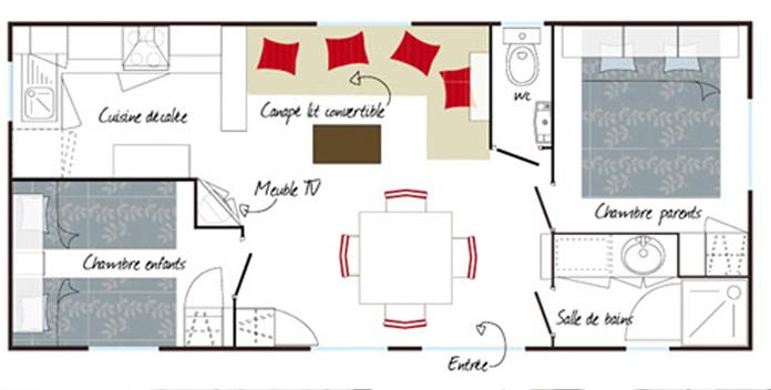 Plan mobil home for Mobil home louisiane 3 chambres prix